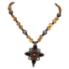 Sterling Silver Natural Gem-Stones Necklace