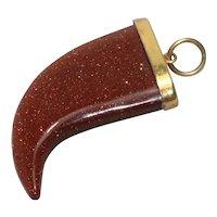 Vintage Gold Filled Gold Sand Stone Horn Pendant