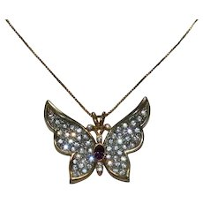 Vintage Sterling Silver Butterfly Italian Chain Necklace