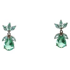 Vintage Sterling Silver Synthetic Emerald Earrings
