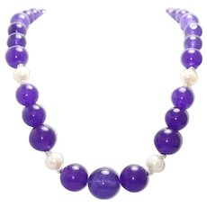 Vintage Sterling Silver Amethyst and Pearl Beaded Necklace