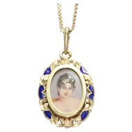 Vintage 14K Yellow Gold Hand Painted Cameo Portrait Necklace