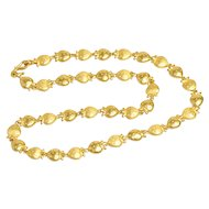 Vintage 24K Yellow Gold Oriental Strawberry Necklace