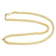 Vintage 24K Yellow Gold Oriental Cuban Link Chain