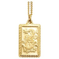 Vintage 24K Yellow Gold Oriental Dragon Necklace