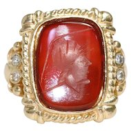 Vintage Red Agate Roman Intaglio Ring