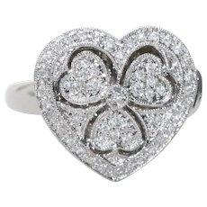 14KT White Gold .22 CT Pavé Set Diamond Heart Locket Ring