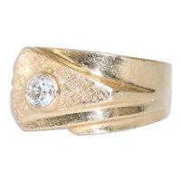 14K Yellow Gold .35 CT Bezel Set Diamond Ring