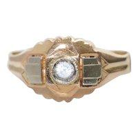 Vintage 18K Two Toned Bezel Set Crystal Ring