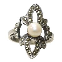 Vintage Sterling Silver Freshwater Pearl Marcasite Ring