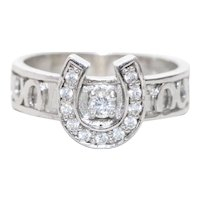 Vintage Sterling Silver Cubic Zirconia Horseshoe Ring