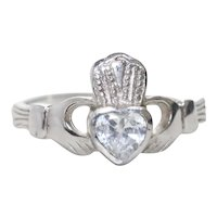 Vintage Sterling Silver Cubic Zirconia Claddagh Ring