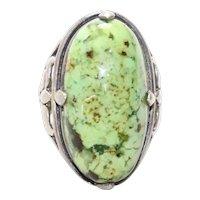 Vintage Sterling Silver Oval Serpentine Ring