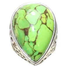 Sterling Silver Tear Drop Green Turquoise Paste Filigree Ring