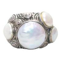 Sterling Silver Mother of Pearl Swirl Ring