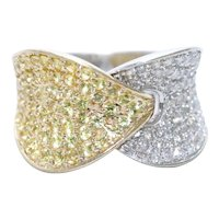 14KT Two Tone Gold Cubic Zirconia Overlapping Ring