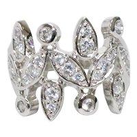 Vintage Sterling Silver Cubic Zirconia Leaf Ring