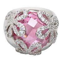 Sterling Silver Faceted Pink Zircon Cubic Zirconia Floral Ring
