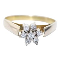 Vintage 14KT Yellow Gold .23 CT Diamond Flower Ring