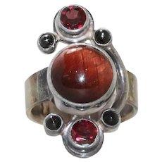 Vintage Sajen Sterling Silver Gemstone Ring