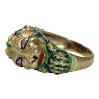 Vintage 18K Yellow Gold Enamel Lion Ring