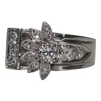 Vintage 14KT White Gold Floral Buckle Ring