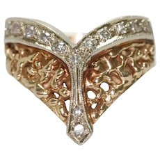 Classy Vintage 14KT Two Toned Gold Diamond Nugget Ring