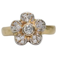 14K Yellow Gold Diamond Floral Ring