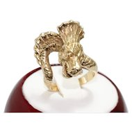 Vintage 14K Yellow Gold 3D Dragon Ring