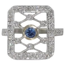 14K White Gold Diamond Filigree Sapphire Ring