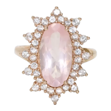 14 KT Yellow Gold White and Pink Topaz Ring