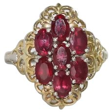 Sterling Silver Prong Set Garnet Stone Ring