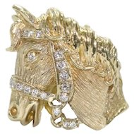 Vintage 14K Yellow Gold 3D Horse Ring
