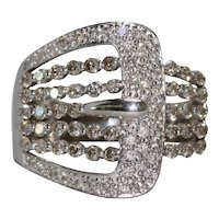 14K White Gold White And Champagne Diamond Belt Buckle Ring