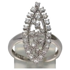 14 KT White Gold Tear Drop Designed Diamond Ring