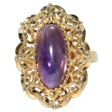 18 KT Yellow Gold Amethyst Cabochon Filigree Ring
