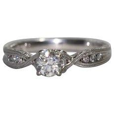 14K White Gold Hand Engraved Diamond Ring