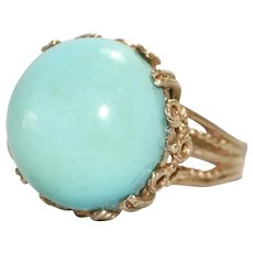 Vintage 14K Yellow Gold Dome Turquoise Ring