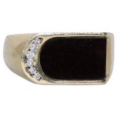 14 KT Yellow Gold Black Onyx And Diamond Stone Ring