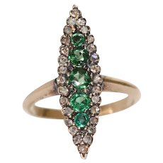 Vintage Victorian Emerald And Diamond Marquise Ring