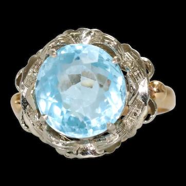 Vintage 18K Two Toned Blue Topaz Ring
