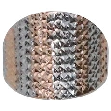 14 KT Two Tone Diamond Cut Ring