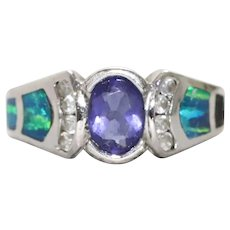 Sterling Silver Ring With Opal, Amethyst, and White Zircons