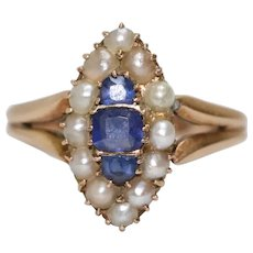 Vintage Victorian 14K Gold Sapphire And Pearl Ring