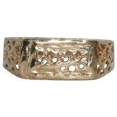 14 KT Yellow Gold Diamond Cut Filigree Ring