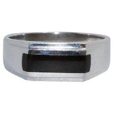 14 KT White Gold Flat Black Onyx Ring