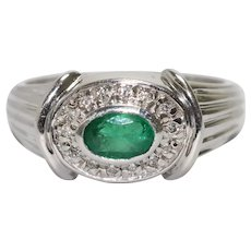 14K White Gold Pave Emerald and Diamond Ring