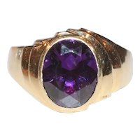14K Yellow Gold Faceted Oval Amethyst Ring