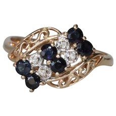 14K Yellow Gold Prong Set Diamond And Sapphire Ring