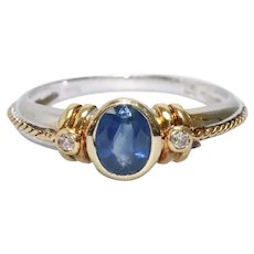 18K Two Toned Braided Rope Diamond Sapphire Ring